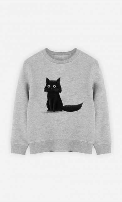 Kid Sweatshirt Sitting Cat
