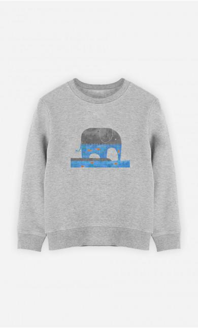 Kid Sweatshirt Thirsty Elephant