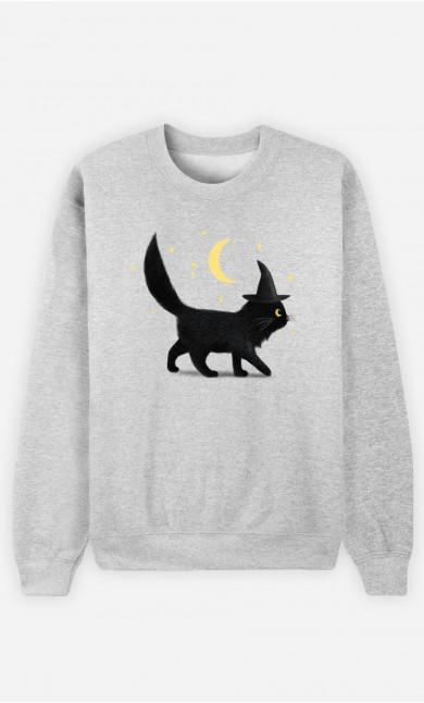 Woman Sweatshirt Halloween Cat