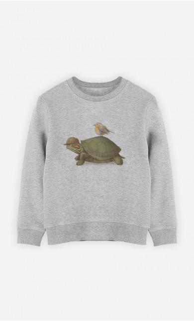 Kid Sweatshirt Turtle And Bird