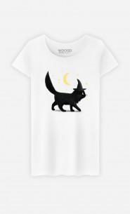 Woman T-Shirt Halloween Cat
