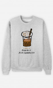 Woman Sweatshirt Bubble Tea