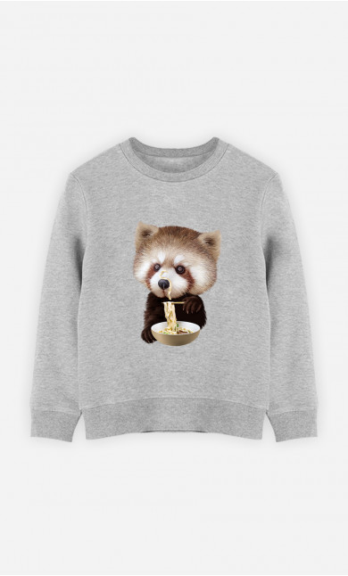 Kid Sweatshirt Red Panda Loves Noodles