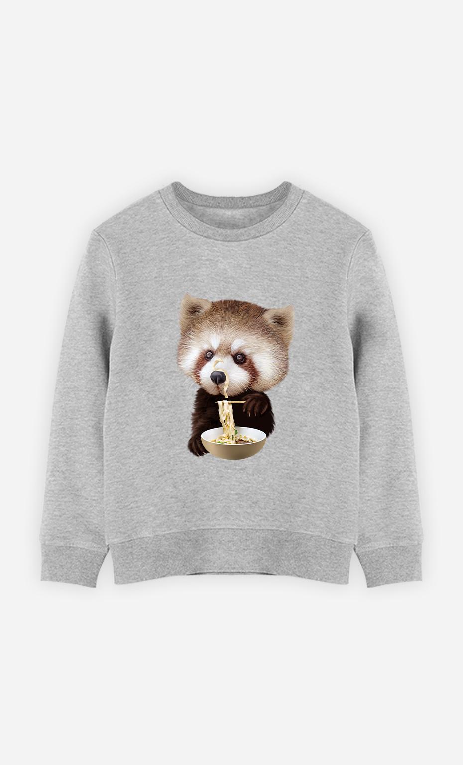 Kid Sweatshirt Red Panda Loves Noodles