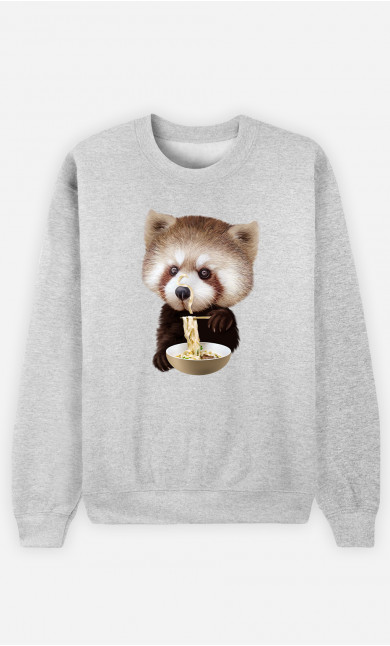 Woman Sweatshirt Red Panda Loves Noodles