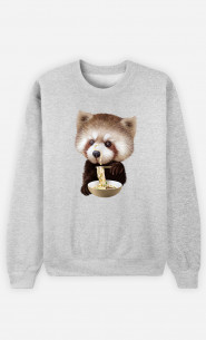 Woman Sweatshirt Red Panda Loves Noodles