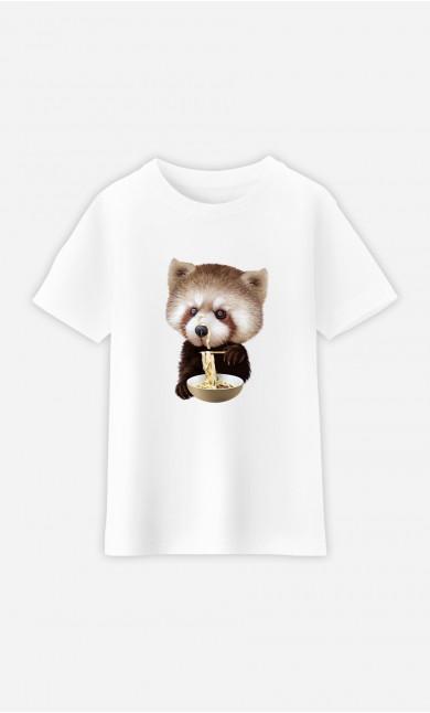 Kid T-Shirt Red Panda Loves Noodles