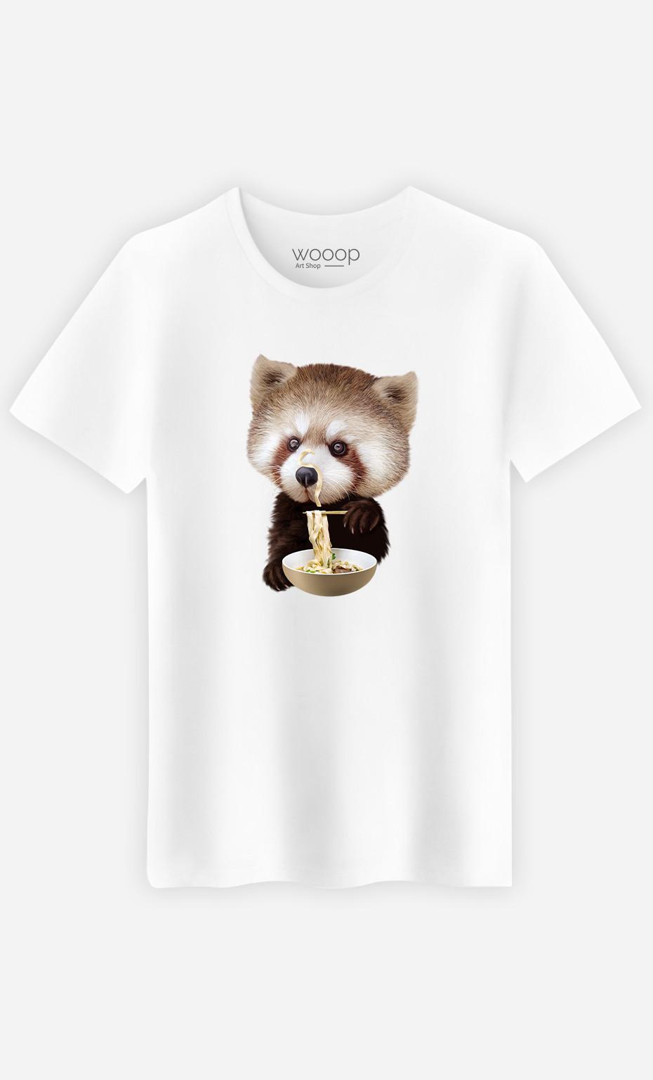 Man T-Shirt Red Panda Loves Noodles