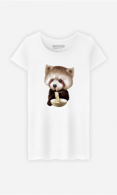 Woman T-Shirt Red Panda Loves Noodles